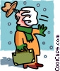 snow in face of salesman - cartoon Vector Clipart illustration