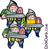 Vector Clip Art picture  of a three knights - cartoon