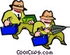 Vector Clipart image  of a men with briefcases - cartoon