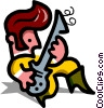 Vector Clip Art picture  of a man playing guitar - cartoon