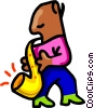 sax player -cartoon Vector Clip Art graphic