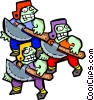 Vector Clip Art image  of a three axe men - cartoon