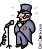 mayor at microphone - cartoon Vector Clip Art graphic