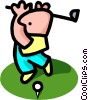 Vector Clipart graphic  of a golfer - cartoon