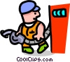 Vector Clip Art image  of a gas attendant - cartoon