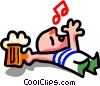 too much beer- cartoon Vector Clipart graphic