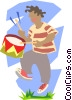 Vector Clipart image  of a boy playing drum