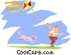 flying a kite Vector Clip Art graphic