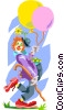Vector Clip Art graphic  of a clown with balloons