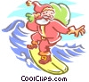 Vector Clipart graphic  of a Santa surfing