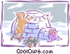 Vector Clipart illustration  of a decorating an igloo with