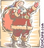 Vector Clip Art image  of a Santa and toys