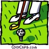 teeing off Vector Clipart illustration