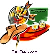Vector Clip Art image  of a darts and beer