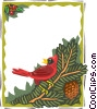 border with bird on branch Vector Clipart illustration