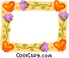 Vector Clip Art picture  of a border with hearts and flowers