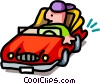 convertible two - cartoon Vector Clip Art graphic
