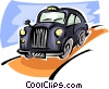 old fashioned taxicab Vector Clipart graphic