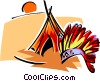 Vector Clip Art graphic  of a Native American symbols two