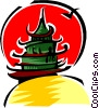 Vector Clipart graphic  of a pagoda moon