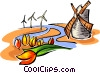 Dutch tulips and windmill -symbol Vector Clipart picture