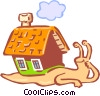 Vector Clipart picture  of a snail carrying house on back