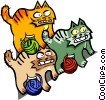 Vector Clip Art graphic  of a cats and yarn