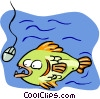 Vector Clip Art image  of a fish going for computer mouse