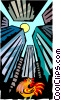 Vector Clip Art image  of a City rooster crowing at sun