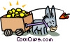 Vector Clipart graphic  of a donkey and cart being lead by a carrot