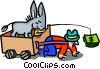 Vector Clipart illustration  of a donkey leading man with money