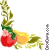 fruit and vine, corner border Vector Clip Art image
