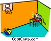 Vector Clip Art image  of a computer room with basketball