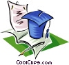 mortarboard, paper, pen, diploma Vector Clipart illustration