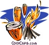 native drums by volcanoes Vector Clip Art picture