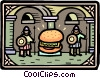 hamburger being guarded Vector Clipart picture
