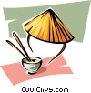 rice bowl and Chinese hat Vector Clipart illustration