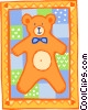 Vector Clip Art image  of a teddy bear quilt