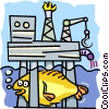 Vector Clip Art picture  of a Off-shore oil rig 2