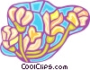 Vector Clipart graphic  of a lilies stained glass