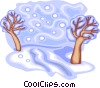 Vector Clip Art image  of a trees in snow
