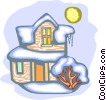 Vector Clipart graphic  of a two story house in snow