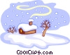 Vector Clip Art graphic  of a cabin in snow