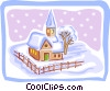 Vector Clip Art image  of a church in snow