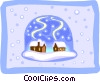 Vector Clipart illustration  of a cabins in snow ball