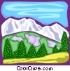 Mountain scene Vector Clipart illustration