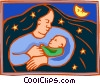Mother night and child Vector Clipart image