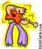 guitar player in bell bottoms - cartoon Vector Clipart illustration