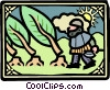 Vector Clipart illustration  of a knight cutting trees