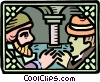 Vector Clipart illustration  of a prince meets businessman